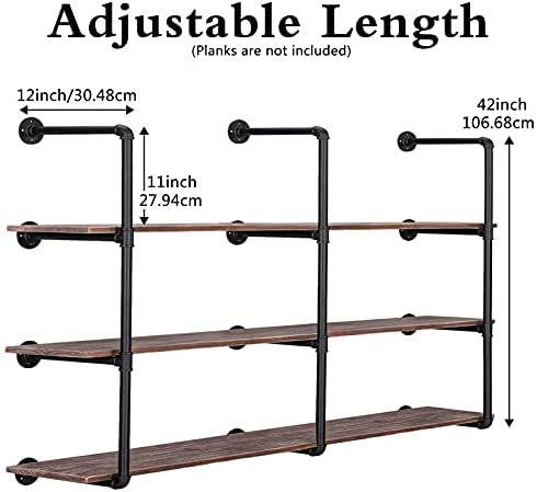 4148z1AEI8L. AC  - Pynsseu Industrial Iron Pipe Shelving Brackets Unit, Farmhouse Wall Mounted Pipe Shelves for Kitchen Bathroom, DIY Bookshelf Living Room Storage, 3Pack of 4 Tier
