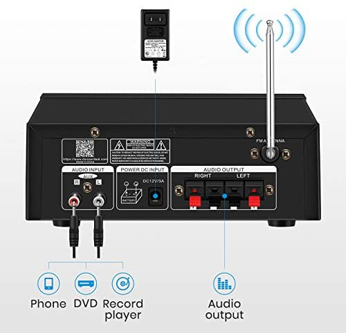 416YewXYSOL. AC  - Moukey Bluetooth 5.0 Home Audio Power Stereo Amplifier for Speakers - Portable 2 Channel Stereo Desktop Amp Receiver with FM Radio, MP3/USB/SD Readers, 2 Mic Input, Remote (Peak Power 100W)