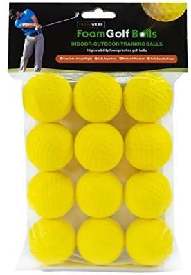 418bjzJH32L. AC  - Practice Golf Balls (12 Realistic-Flight Foam Golf Balls) Get Instant Feedback of Your Strike - Perfect for Indoors, Basement & Backyard Golf Practice - Limited Flight