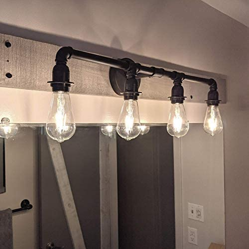 418tgvUf7cL. AC  - LOUmination Matte Black Vanity Fixture - Industrial Farmhouse Bathroom Light Fixtures - Metal Steampunk, Rustic Pipe Sconce - Dressing Room, Bedroom, Dining Room, Entryway, Hallway - 4 Lights