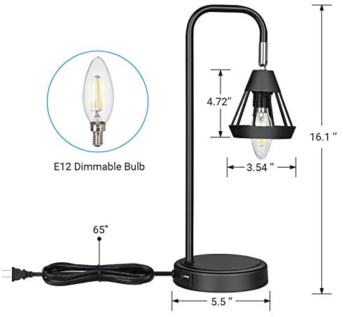41BMp5N3WCL. AC  - DEWENWILS Industrial Table Lamp with USB Port, 3 Way Dimmable Desk Lamp, Modern Touch Control Bedside Nightsand Lamp for Bedroom, Office, Living Room, 3000K E12 Bulb Included