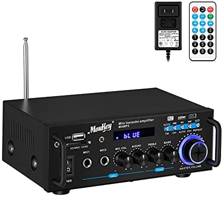 41Gk3MlKQ8L. AC  - Moukey Bluetooth 5.0 Home Audio Power Stereo Amplifier for Speakers - Portable 2 Channel Stereo Desktop Amp Receiver with FM Radio, MP3/USB/SD Readers, 2 Mic Input, Remote (Peak Power 100W)