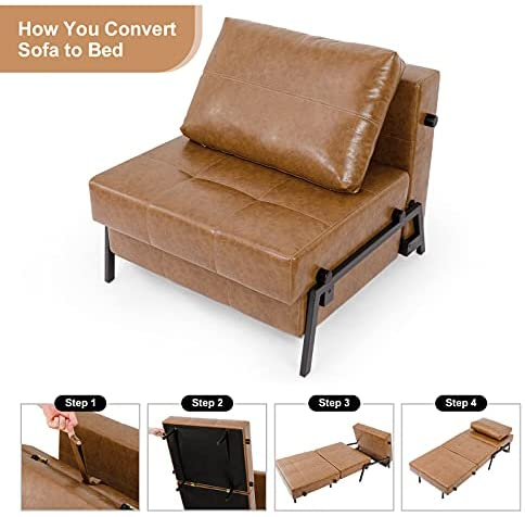 41JZ+5N0 7L. AC  - Vonanda Sofa Bed, Faux Leather Sleeper Sofa, Convertible Chair Bed with Hidden Legs and Sturdy Frame, Easy Folding Sleeper Chair for Compact Living Space, Caramel