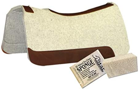 """41Ko0UYhkTL. AC  - 5 Star Equine Horse Saddle Pad - 7/8"""" Thick Western Contoured Natural Pad - The Barrel Racer 30"""" X 28"""" Free Sponge Saddle Pad Cleaner Included"""