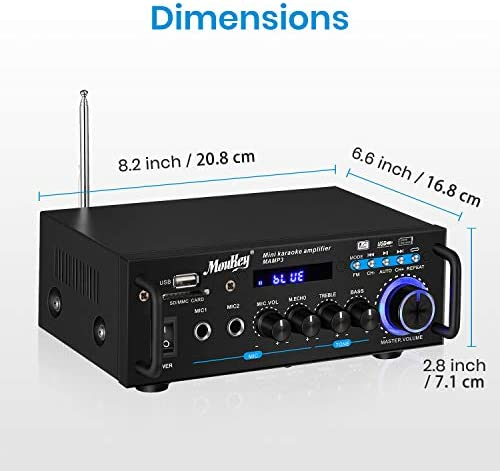 41TZW4ZSlKL. AC  - Moukey Bluetooth 5.0 Home Audio Power Stereo Amplifier for Speakers - Portable 2 Channel Stereo Desktop Amp Receiver with FM Radio, MP3/USB/SD Readers, 2 Mic Input, Remote (Peak Power 100W)