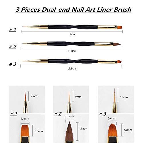 41UPb qJq4L - FULINJOY 3 Pcs Nail Drawing Pen, Dual End Nail Art Pen Brush Acrylic Round Flat Painting Drawing Liner Nail Tools