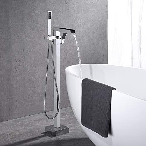 41VIaNXAKAL. AC  - Wowkk Freestanding Tub Filler Waterfall Bathtub Faucet Chrome Floor Mount Brass Single Handle Bathroom Faucets with Hand Shower