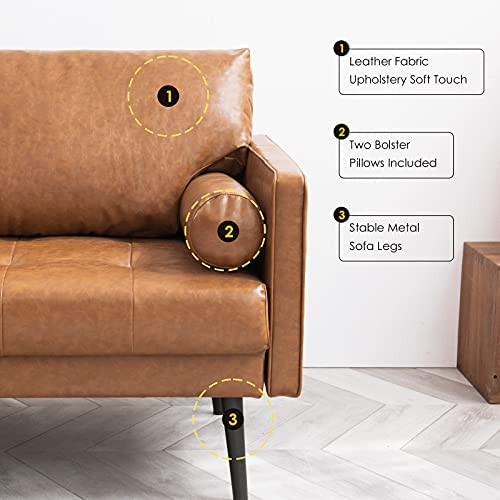 41Xdn5pveSL. AC  - Vonanda Faux Leather Sofa Couch, Mid-Century 73 Inch 3-Seater Sofa with 2 Bolster Pillows and Hand-Stitched Comfort Cushion for Compact Living Room, Caramel