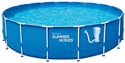 41iVFReFpXL. AC  - Summer Waves Active 10 Foot x 30 Inch Metal Frame Outdoor Backyard Above Ground Swimming Pool Set with Filter Pump, Type I Cartridge, and Repair Patch