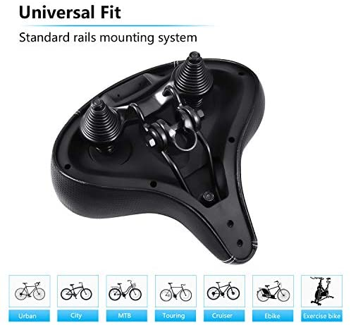 41lDPVoXEaL. AC  - Most Comfortable Extra Large Bike Seat - Wide Oversized Bicycle Saddle with Super Thick & Soft Foam Padding and Dual Spring Shock Absorbing Design - Universal Fit for Exercise Bike and Outdoor Bikes
