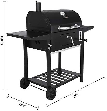 41md5ApcKRL. AC  - Royal Gourmet CD1824AX 24-Inch Charcoal Grill Outdoor BBQ Smoker Picnic Camping Patio Backyard Cooking, Black