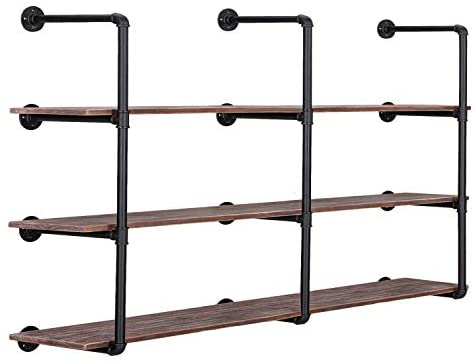 41pUoF0csCL. AC  - Pynsseu Industrial Iron Pipe Shelving Brackets Unit, Farmhouse Wall Mounted Pipe Shelves for Kitchen Bathroom, DIY Bookshelf Living Room Storage, 3Pack of 4 Tier
