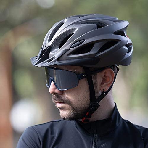 41rkS1p0GmL. AC  - RNOX Adult Bike Helmet, Bicycle Cycle Helmet for Adults Men/Women, Adjustable Size Road Cycling Bicycle Helmet with Detachable Visor/Led Rear Light