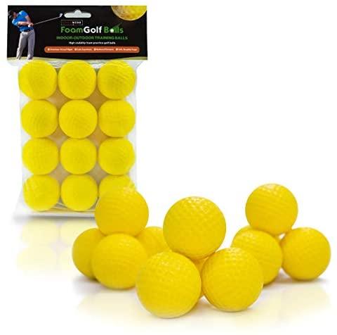 41tY3e3ZEoL. AC  - Practice Golf Balls (12 Realistic-Flight Foam Golf Balls) Get Instant Feedback of Your Strike - Perfect for Indoors, Basement & Backyard Golf Practice - Limited Flight