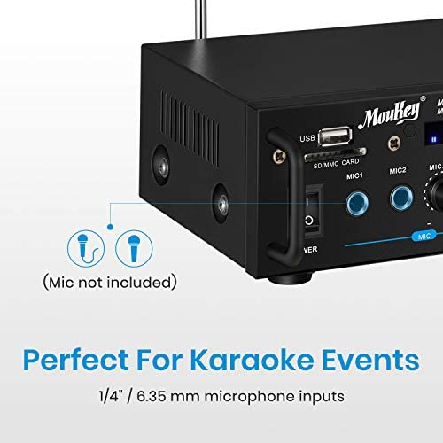 41xUe7yl4qL. AC  - Moukey Bluetooth 5.0 Home Audio Power Stereo Amplifier for Speakers - Portable 2 Channel Stereo Desktop Amp Receiver with FM Radio, MP3/USB/SD Readers, 2 Mic Input, Remote (Peak Power 100W)