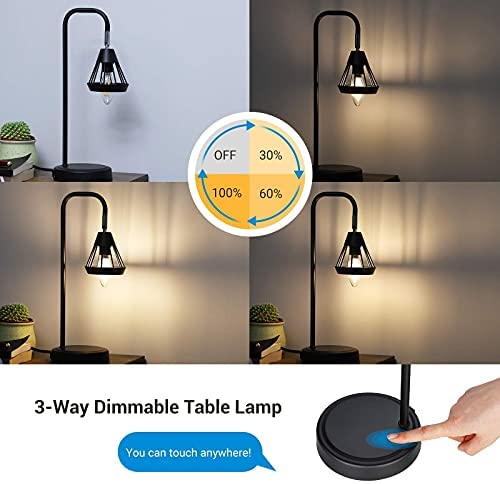 41xu1b QwqL. AC  - DEWENWILS Industrial Table Lamp with USB Port, 3 Way Dimmable Desk Lamp, Modern Touch Control Bedside Nightsand Lamp for Bedroom, Office, Living Room, 3000K E12 Bulb Included