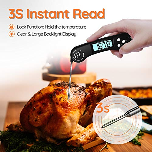511kO7J2GOL - DOQAUS Digital Meat Thermometer, Instant Read Food Thermometer for Cooking, Digital Kitchen Thermometer Probe with Backlight & Reversible Display, Cooking Thermometer for Turkey Candy Grill BBQ