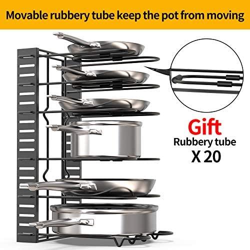 514pi9MKMUL. AC  - GeekDigg Pot Rack Organizer under Cabinet, 3 DIY Methods, Height and Position are Adjustable 8+ Pots Lid Holder, Black Metal Kitchen Pantry Cookware Organizer (Upgraded Version)