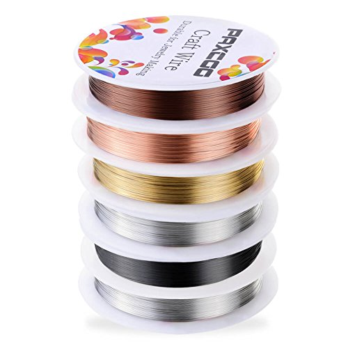 517vwnUB EL - PAXCOO 6 Pack Jewelry Beading Wire for Jewelry Making Supplies and Craft (24 Gauge)