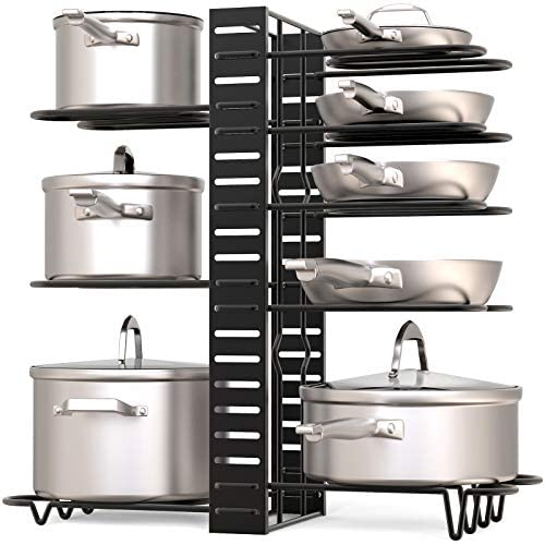 519E1y eZqL. AC  - GeekDigg Pot Rack Organizer under Cabinet, 3 DIY Methods, Height and Position are Adjustable 8+ Pots Lid Holder, Black Metal Kitchen Pantry Cookware Organizer (Upgraded Version)