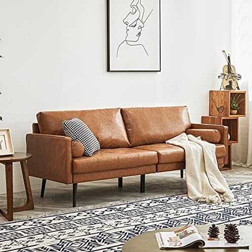 51AZ9 ZlL6L. AC  - Vonanda Faux Leather Sofa Couch, Mid-Century 73 Inch 3-Seater Sofa with 2 Bolster Pillows and Hand-Stitched Comfort Cushion for Compact Living Room, Caramel