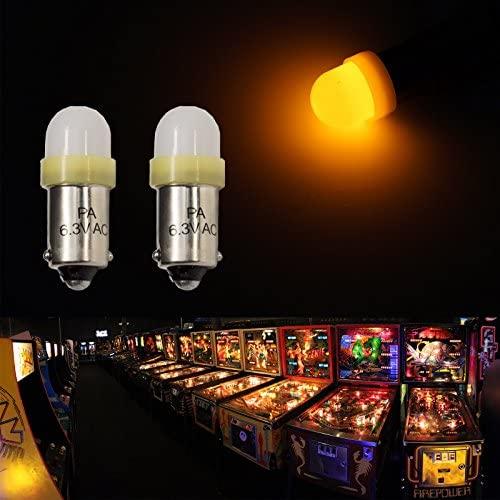 51AknGHlcQL. AC  - PA 10PCS #44 #47 ba9s 2 SMD 2835 LED 6.3V DC Bayonet Pinball Gaming Machine Light Bulb Yellow