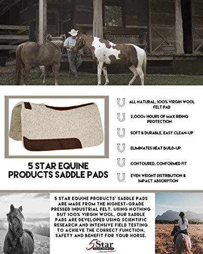 "51Cv4NuwKDL. AC  - 5 Star Equine Horse Saddle Pad - 7/8"" Thick Western Contoured Natural Pad - The Barrel Racer 30"" X 28"" Free Sponge Saddle Pad Cleaner Included"