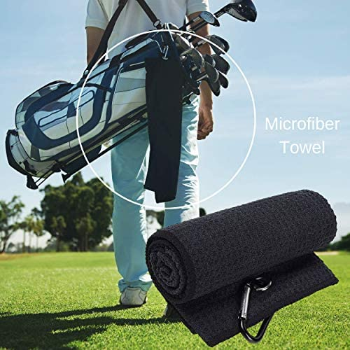 51DrghPPKBL. AC  - RE GOODS Golf Accessories Kit | Microfiber Towel, Ball Holder, Golf Club Brush w/Groove Cleaner, Divot Repair Tool, Ball Stencil, Tee Holder, Putting Markers | Golfer Gift Set for Men and Women