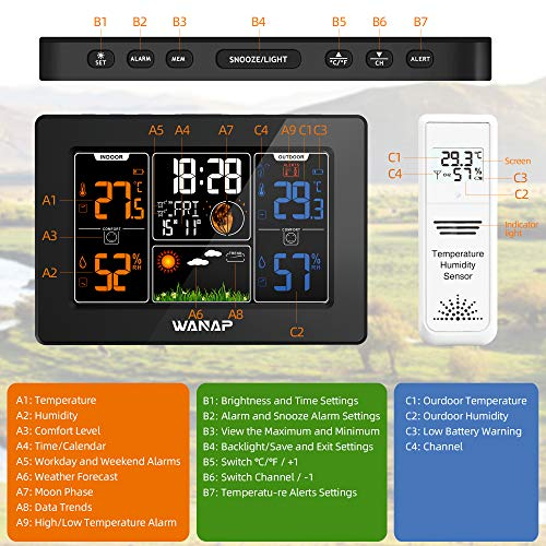 51FgaGDNejL - Wanap Weather Station, Wireless Weather Station Indoor Outdoor Thermometer Temperature and Humidity Weather, Digital Colorful Display Multifunctional Weather Forecast Hygrometer Barometer, Radio Clock