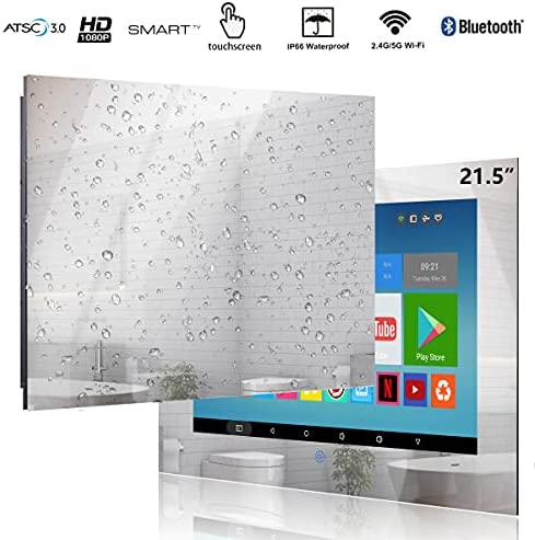 51GcDvaiuuL. AC  - Haocrown 21.5-inch Bathroom Waterproof Mirror TV Touch Screen Smart Television Full-HD LED with Android 9.0 System Shower TV with Built-in ATSC Tuner Wi-Fi Bluetooth Waterproof Speakers(2021 Model)