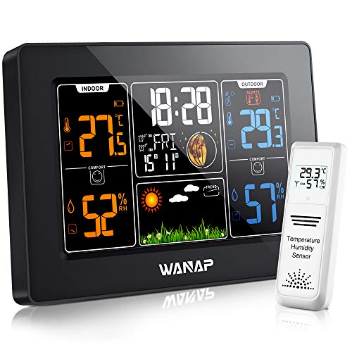 51I4ZkKp2DL - Wanap Weather Station, Wireless Weather Station Indoor Outdoor Thermometer Temperature and Humidity Weather, Digital Colorful Display Multifunctional Weather Forecast Hygrometer Barometer, Radio Clock