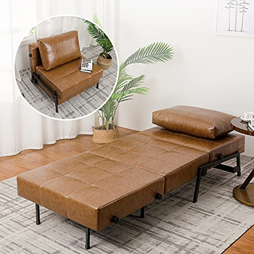 51Ii3qZ0VML. AC  - Vonanda Sofa Bed, Faux Leather Sleeper Sofa, Convertible Chair Bed with Hidden Legs and Sturdy Frame, Easy Folding Sleeper Chair for Compact Living Space, Caramel