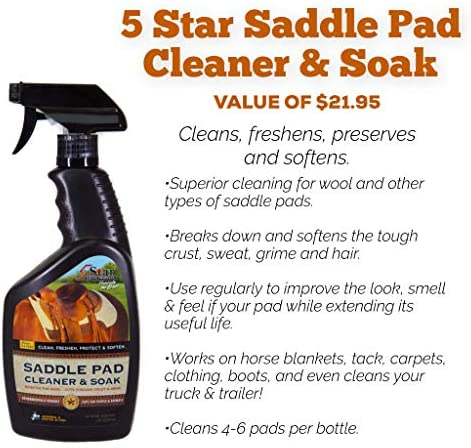"""51MUAu5k4XL. AC  - 5 Star Equine Horse Saddle Pad - 7/8"""" Thick Western Contoured Natural Pad - The Barrel Racer 30"""" X 28"""" Free Sponge Saddle Pad Cleaner Included"""