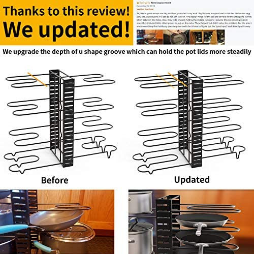 51MygvS0DYL. AC  - GeekDigg Pot Rack Organizer under Cabinet, 3 DIY Methods, Height and Position are Adjustable 8+ Pots Lid Holder, Black Metal Kitchen Pantry Cookware Organizer (Upgraded Version)