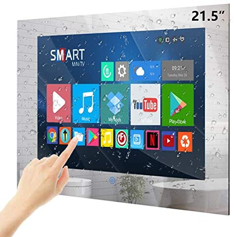 51NK  0B1hL. AC  - Haocrown 21.5-inch Bathroom Waterproof Mirror TV Touch Screen Smart Television Full-HD LED with Android 9.0 System Shower TV with Built-in ATSC Tuner Wi-Fi Bluetooth Waterproof Speakers(2021 Model)