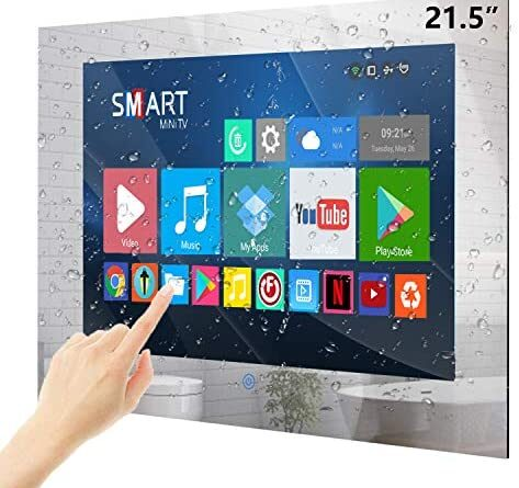 51NK 0B1hL. AC  473x445 - Haocrown 21.5-inch Bathroom Waterproof Mirror TV Touch Screen Smart Television Full-HD LED with Android 9.0 System Shower TV with Built-in ATSC Tuner Wi-Fi Bluetooth Waterproof Speakers(2021 Model)
