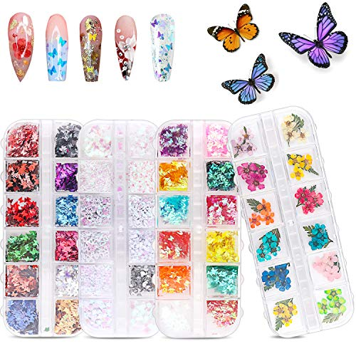 51NSRxLYRvL - 48 Colors Dried Flowers Nail Art Butterfly Glitter Flake 3D Holographic, Tufusiur Dry Flower Nails Sequins Acrylic Supplies Face Body Gifts for Decoration Accessories & DIY Crafting
