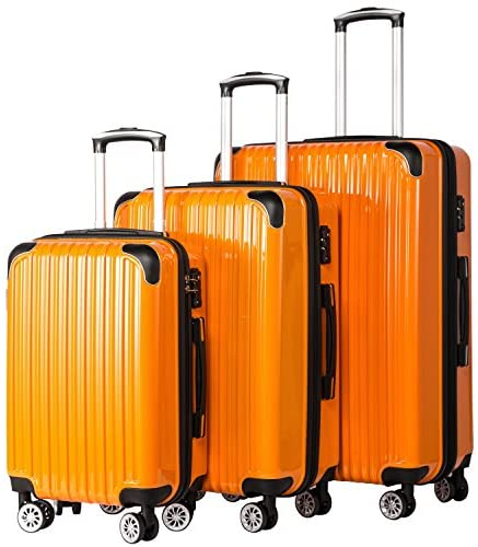 51QBLdtjd L. AC  - Coolife Luggage Expandable 3 Piece Sets PC+ABS Spinner Suitcase 20 inch 24 inch 28 inch (orange)