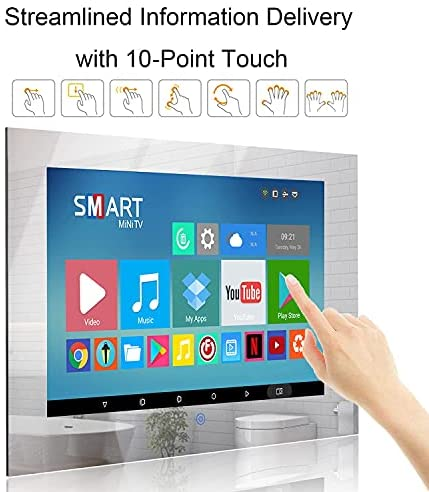 51R32thzg9L. AC  - Haocrown 21.5-inch Bathroom Waterproof Mirror TV Touch Screen Smart Television Full-HD LED with Android 9.0 System Shower TV with Built-in ATSC Tuner Wi-Fi Bluetooth Waterproof Speakers(2021 Model)