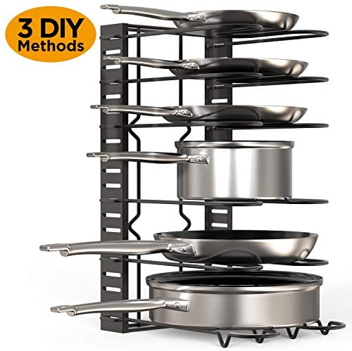51SaGimGFBL. AC  - GeekDigg Pot Rack Organizer under Cabinet, 3 DIY Methods, Height and Position are Adjustable 8+ Pots Lid Holder, Black Metal Kitchen Pantry Cookware Organizer (Upgraded Version)