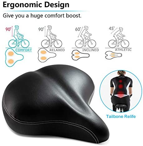 51SdGfQGnsL. AC  - Most Comfortable Extra Large Bike Seat - Wide Oversized Bicycle Saddle with Super Thick & Soft Foam Padding and Dual Spring Shock Absorbing Design - Universal Fit for Exercise Bike and Outdoor Bikes