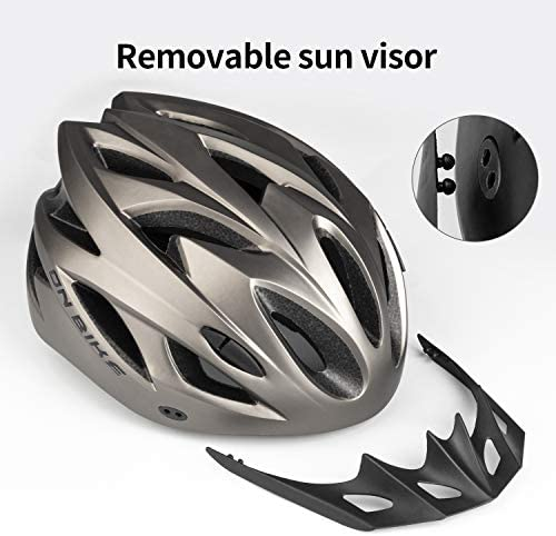 51V0AlexyuL. AC  - RNOX Adult Bike Helmet, Bicycle Cycle Helmet for Adults Men/Women, Adjustable Size Road Cycling Bicycle Helmet with Detachable Visor/Led Rear Light