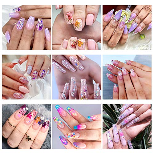 51bWqFe4IZL - 48 Colors Dried Flowers Nail Art Butterfly Glitter Flake 3D Holographic, Tufusiur Dry Flower Nails Sequins Acrylic Supplies Face Body Gifts for Decoration Accessories & DIY Crafting