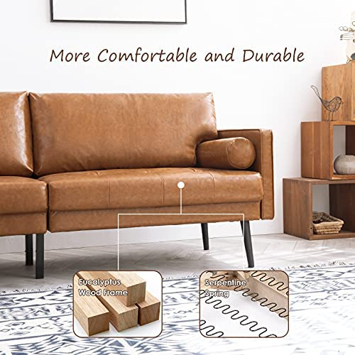51biBlFnK6L. AC  - Vonanda Faux Leather Sofa Couch, Mid-Century 73 Inch 3-Seater Sofa with 2 Bolster Pillows and Hand-Stitched Comfort Cushion for Compact Living Room, Caramel