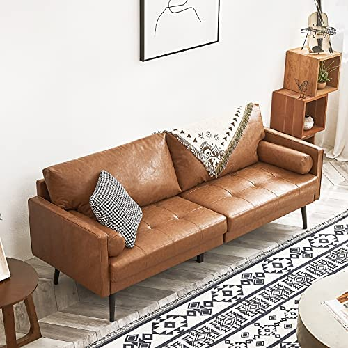 51cTy0cFqTL. AC  - Vonanda Faux Leather Sofa Couch, Mid-Century 73 Inch 3-Seater Sofa with 2 Bolster Pillows and Hand-Stitched Comfort Cushion for Compact Living Room, Caramel