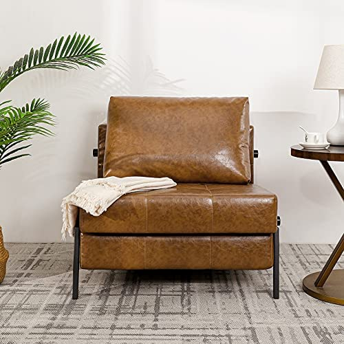 51cwdVdMOzL. AC  - Vonanda Sofa Bed, Faux Leather Sleeper Sofa, Convertible Chair Bed with Hidden Legs and Sturdy Frame, Easy Folding Sleeper Chair for Compact Living Space, Caramel