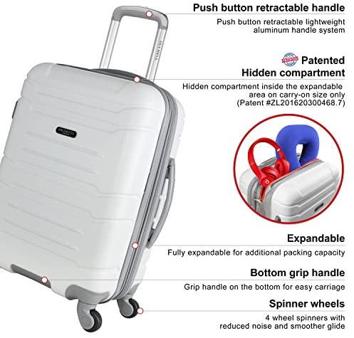 """51f4RVeUkML. AC  - Olympia Denmark 21"""" Carry-on Spinner, White"""