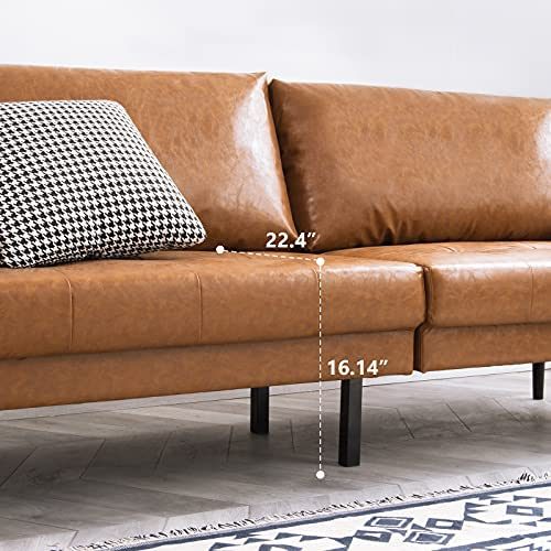 51iJSSSXxsL. AC  - Vonanda Faux Leather Sofa Couch, Mid-Century 73 Inch 3-Seater Sofa with 2 Bolster Pillows and Hand-Stitched Comfort Cushion for Compact Living Room, Caramel
