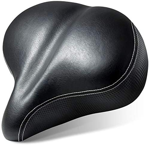 51iXLnjzbcL. AC  - Most Comfortable Extra Large Bike Seat - Wide Oversized Bicycle Saddle with Super Thick & Soft Foam Padding and Dual Spring Shock Absorbing Design - Universal Fit for Exercise Bike and Outdoor Bikes