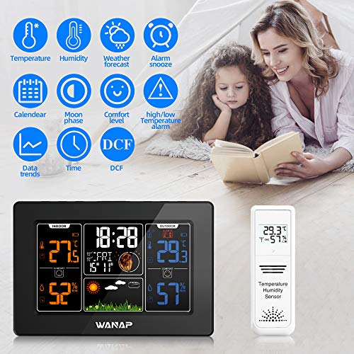 51kBd7sZDQL - Wanap Weather Station, Wireless Weather Station Indoor Outdoor Thermometer Temperature and Humidity Weather, Digital Colorful Display Multifunctional Weather Forecast Hygrometer Barometer, Radio Clock
